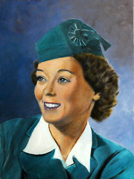 Oil of Dorothy Diemer Hendry in 1943 as Chief Hostess for Mid-Continent Airlines (oil by Larry Augsburger 2012)