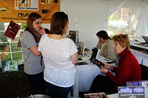 Annie Laura Smith discusses her many books with fans at the Alabama Book Festival in Montgomery on April 20th.