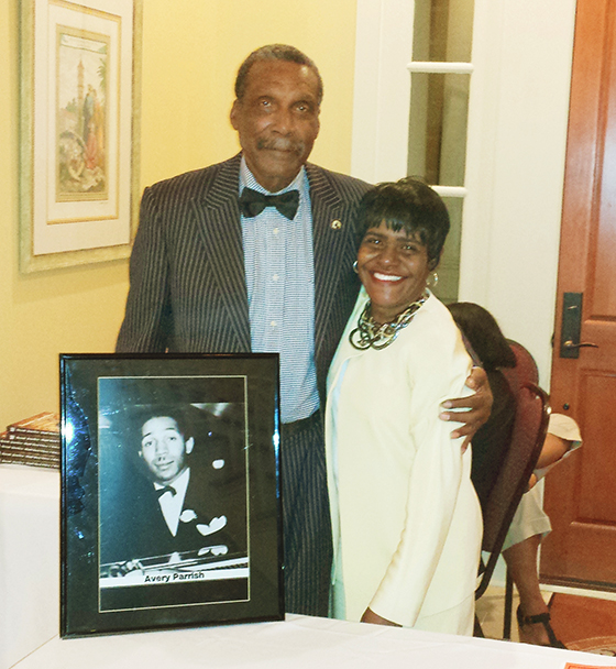 Bobby Hayden, promoter for the evening of jazz and swing by the Birmingham Heritage Band, poses with Ardent Writer author, Carol Ealons.  Her history of Birmingham jazz, Tuxedo Junction-Right Back Where I Belong, inspired the event.