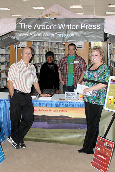 Ardent Authors Larry Williamson, Carol Ealons, and Mike Wines talk shop with author Sharon Schuler Kreps (Jokers and Dandies).