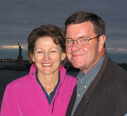 Butch Carroll, author of Tokers' Blood, and his artist wife, Betty, enjoy a New York City moment.