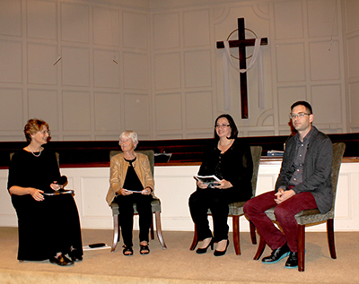 Huntsville Master Chorale member (and HLA member) Kay Campbell conducts a panel discussion with composer Dr. Emma Lou Diemer, Dr. Patricia Ramirez Hacker, HMC Artistic Director and Conductor, and Holland Hopson, composer.